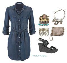 How to: Denim [night] Dress by maurices on Polyvore featuring maurices