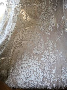 Stunning Antique French Tambour Lace Panel for drape, valance, etc.