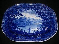Beautiful century strong flow blue staffordshire platter with gorgeous scene. x Marked on bottom with warranted seal.