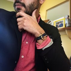 navy blazer + chambray pocket square + red Oxford,  menswear office style + fashion // rose gold + navy leather anchor bracelet from @miansai, railroad cuff from @gilesandbrother
