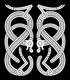 Jelling Style Ornament IV Two mirrored S-shaped ribbon-animals – A type of motif which is seen on several brooches and mounts.