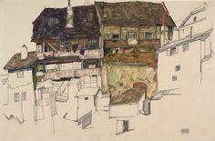 Egon Schiele | Alte Häuser in Krumau - Old Houses in Krumau | 1914 | © Albertina, Wien