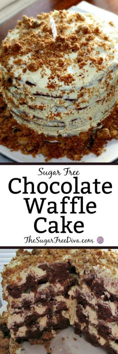 Sugar Free Chocolate Waffle Cake-This Recipe For A Birthday Or Other Time Celebration Cake, Is Easier Than You Would Think. Waffles Are Not Just For Breakfast Or For Brunch. Waffles Can Be Used To Make Great Desserts And Yummy Treats As Well Mini Desserts, Sugar Free Desserts, Sugar Free Recipes, Great Desserts, Low Carb Desserts, Cupcake Recipes, Baking Recipes, Delicious Desserts, Cupcake Cakes