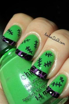 Frankenstein nails....these are so cool! Its a french manicure with a metallic purple and black crackle.