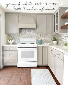 gray & white kitchen remodel with touches of wood, open shelves, small kitchen, white appliances White Kitchen Appliances, White Kitchen Cabinets, Kitchen Redo, Kitchen Ideas, White Counters, Ranch Kitchen, Cleaning Appliances, Narrow Kitchen, Condo Kitchen