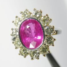 Estate 4.64 cts Extra Fine Hot Pink Burma Sapphire & Diamond Ring 18K Gold
