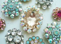 """Pretty Back-to-School DIY Locker Magnets: """"I found these pretty rhinestone earrings at Forever 21. We just removed the earring backings...and used jewelry glue to adhere some heavy strength magnets to the backs.  That's all there is to it!!"""""""