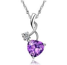 Rhodium Plated 925 Silver Diamond Accent Amethyst Heart Shape Pendant Necklace Including 925 Silver Singapore Chain '18 inch #Rhodium_Plated_Silver_Diamond_Accent_Heart #chains #necklaces# jewelry# accessories #rings #pendants
