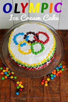 Olympic Ice Cream Cake Easy Ice Cream Cake recipe from http://HappyandBlessedHome.com