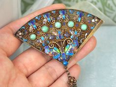 Vintage find antique 1900s China export silver brooch pin enamel butterfly motif with green jadeite stones $375