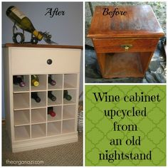 Wine cabinet made out of an old nightstand