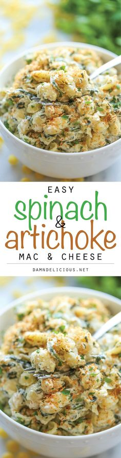 Spinach and Artichoke Mac and Cheese - So creamy, so cheesy and so easy to make in just 25 min. And it's lightened up with only 369 calories per serving!