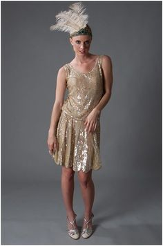 Perfect vintage inspired 20s gold bridesmaid dress