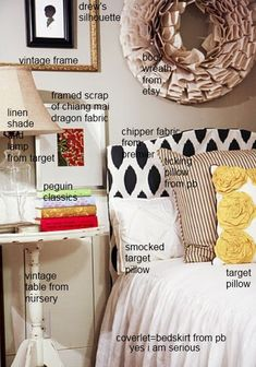 I think I want a pillowcase like that Target one. Yellow rosettes.