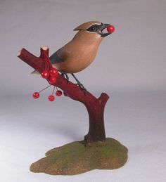 Cedar Waxwing with Cherry Hand Carved Wooden Bird by jjstudio,: