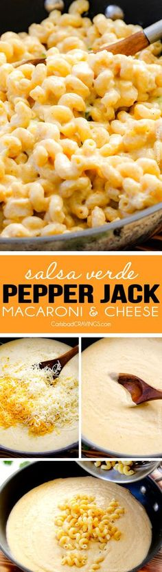 This 30 min. mega creamy (lightened up) Salsa Verde Pepper Jack Macaroni and Cheese is crazy flavorful infused with salsa verde, pepper jack and sharp cheddar and super easy to make! A new family favorite with the option of chicken and veggies!:
