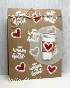 Sunny Studio Stamps: Mug Hugs You Warm My Heart Coffee Card by Anita Madden.