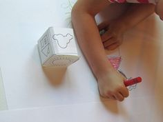 Fun pre-k art activity! -- A sunny day drawing cube game Preschool Arts And Crafts, Preschool At Home, Teach Preschool, Projects For Kids, Diy For Kids, Crafts For Kids, Picture Cube, Preschool Journals, Prewriting Skills