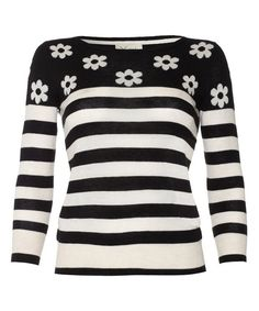 Black Daisy Stripe Sweater