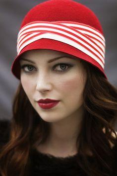 Red Cloche Hat, #makeup, #hair Emma Motion  #model Charlene M Key@ Colours Model Agency  #gatsby hat