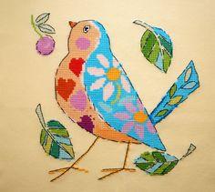 Bird Talk cross stitch  Designed by Lesley Teare