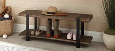 The Modesto reclaimed wood bench is versatile and perfect for your entry, dining, or living room. Metal straps are flush with the bench surface for comfortable seating.