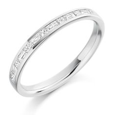 Channel Set 0.30ct Princess & Baguette Cut Diamond Half Eternity Ring | Reppin & Jones Jewellers