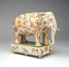 'The Elephant From Assam' by Georgina Warne, hand painted high fired earthenware, 28 x 33 x Ceramic Design, Ceramic Art, Ceramic Animals, Ceramic Studio, Animal Sculptures, Ceramic Sculptures, Arte Popular, Paperclay, Soft Sculpture