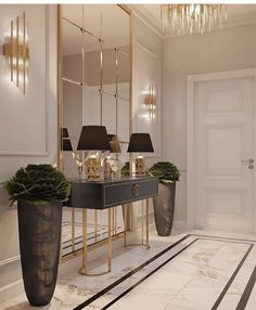 """Chanel: """"Sharing some gorgeous entryway/wall table decor. Enjoy and and have a wonderful night! Please swipe and tap for page owners. Hallway Designs, Foyer Design, Home Room Design, Home Interior Design, Living Room Designs, Home Living Room, Living Room Decor, Bedroom Decor, Entrance Hall Decor"""