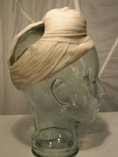 1940s Pleated Jersey Lana Turner Style Turban Hat in Ivory | From a collection of rare vintage hats at http://www.1stdibs.com/fashion/accessories/hats/