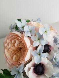 Sugar flowers, David Austin roses, hydrangea and anemone-The Snowdrop Cakery