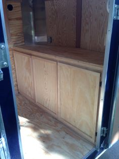 Custom cabinets I built to fit the front of my cargo trailer / camper conversion Work Trailer, Diy Camper Trailer, Trailer Storage, Trailer Interior, Custom Trailers, Cargo Trailers, Utility Trailer, Enclosed Trailers