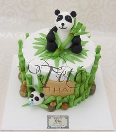 Chocolaty cake, for the baptism of Thai, pandas gum paste, made from bamboo and sugar past and hand painted to give realism to the modeling Boys First Birthday Cake, Panda Birthday Party, Panda Party, Cupcakes, Cupcake Cakes, Bolo Panda, Anna Cake, Jungle Cake, Cake Topper Tutorial