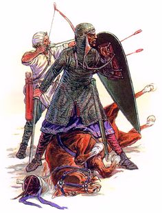 """""""Frankish warriors defending themselves against Turkish horse archers""""- Laintura y la Guerra. Sursumkorda in memoriam Historical Art, Historical Pictures, Military Art, Military History, Norman Knight, Zombie Army, Renaissance, High Middle Ages, Germanic Tribes"""