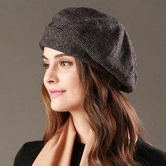 Simple design beret hat for winter vintage ladies wool hats