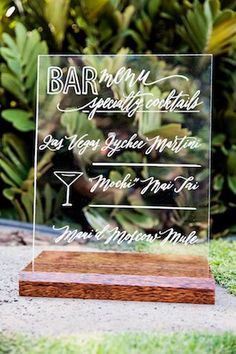 Plexiglass bar sign