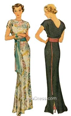1935 Molyneux Dinner Gown E30-8212