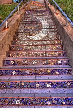 tile mosaic on outdoor stair risers