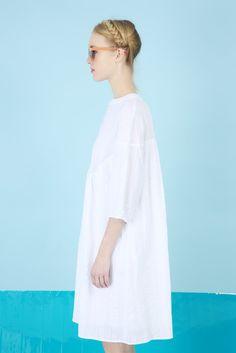 Textured Round Collar Smock Dress - The Whitepepper