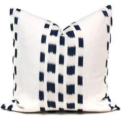 Schumacher Blue Izmir Ikat Decorative Pillow Cover, Square or Lumbar pillow - Accent Pillow, Throw Pillow