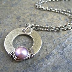 Pink Pearl Ciondolo Sterling Silver Hoop Valentines