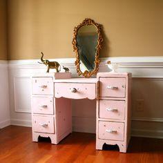 SALE CIJ Pink Vintage Vanity Desk Bohemian Chic by RhapsodyAttic, $375.00