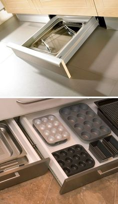 Under-Cabinet Drawers | DIY Kitchen Storage Ideas for Small Spaces | Click for Tutorial | DIY Kitchen Organization Ideas