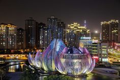 """Выставочный центр """"Лотос"""" - грандиозный объект архитектуры Китая - построен по проекту студии Studio55 на 3,5 гектарах площади и находится в развивающемся южном районе Чанчжоу, в самом его центре Wujin, в Народном парке."""
