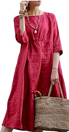 66e96eec0cb8 ONTBYB Womens Scoop Neck 34 Sleeve Pure Color Loose Cotton Linen Dress 1 XS  * Continue to the product at the image link. (This is an affiliate link)