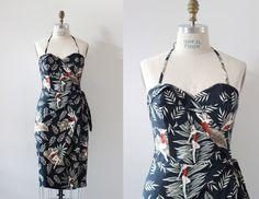 Hawaiian Sarong Dress  Rockabilly Pinup tiki par OceanfrontBoutique