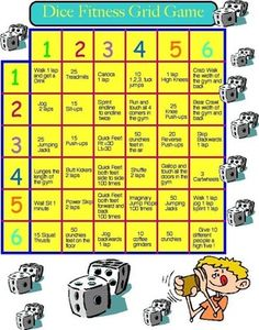 Physical Education - Fitness Dice Grid