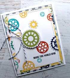Jillibean Soup: Make the World Spin Card by Jennifer Haggerty featuring 2 Cool For School collection.