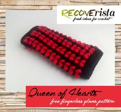 (4) Name: 'Crocheting : Queen of Hearts fingerless gloves