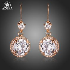 Rose Gold Plated Heart Shaped CZ Connect Round Cubic Zirconia Drop Earrings TE0145